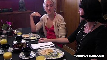 table fingered dinner under wife 2 girls in pantyhose domina pool table