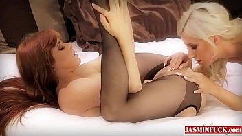 in blonde stockings kissing fucking pleasing bra boots hot black red Sheer lingerie fuck