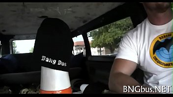 jenny bang bus Brunette girl tries first time anal